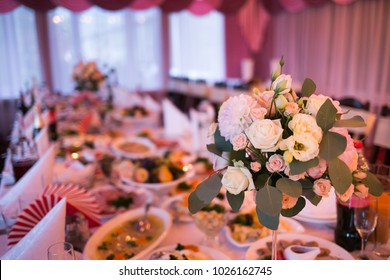 Decorated wedding table with flowers