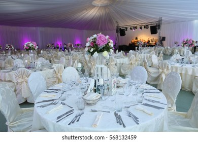 decorated wedding tables in a restaurant