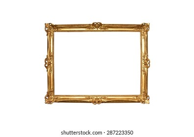 Decorated wood frame carved in antique style finished with gold paint