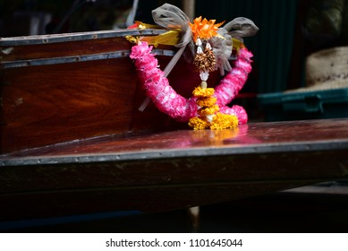 Decorated wooden boat in the floating market, Thailand