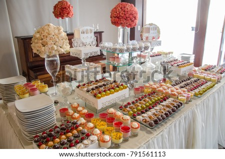 decorating candy table wedding stock photo edit now 791561113