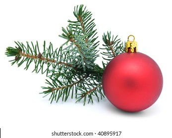 Decorating of  Christmas tree with red spheres on  white background