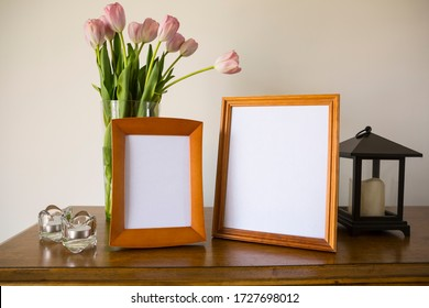 Decorating concept, Modern home decor mock-up with two picture frames and tulips