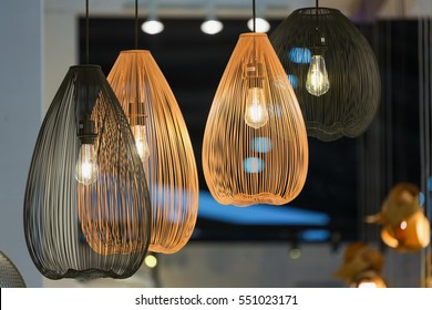 Decorating hanging lantern lamps  in wooden wicker made from bamboo