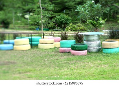 Decorating Old Tire Chairs Stock Photo Edit Now 1215995401