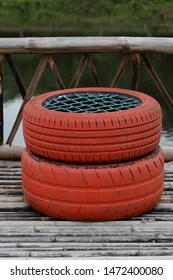 Decorating the old tire chairs, Recycle concept