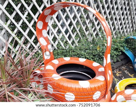 Decorating Old Tire Wheels Basket Copping Stock Photo Edit Now