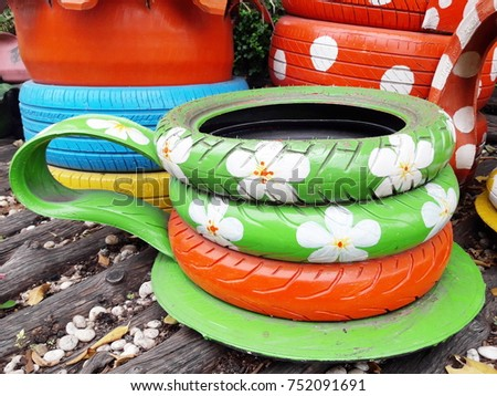 Decorating Old Tire Wheels Cup Tea Stock Photo Edit Now 752091691