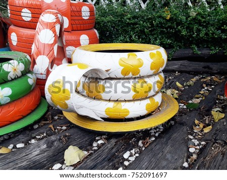 Decorating Old Tire Wheels Cup Tea Stock Photo Edit Now 752091697