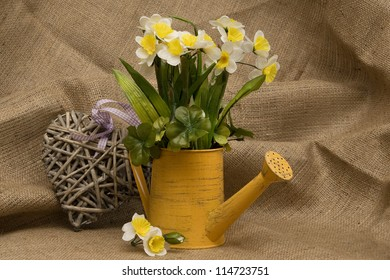 Decoration with artificial daffodils in a watercan, wooden heart and coarse material