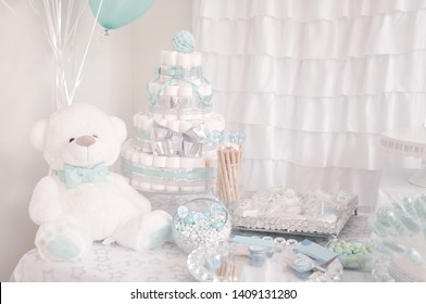 Decoration for a baby shower party. Cute diaper cake for a baby shower party. Its a boy.