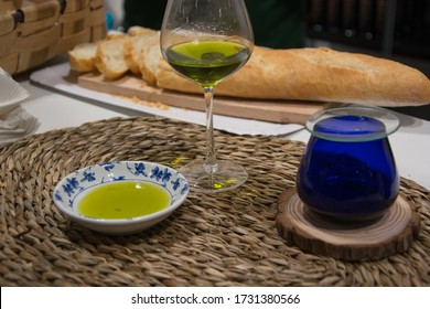 Decoration of best olive oil to taste, taste, smell and bread
