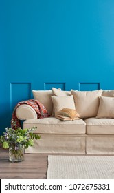 Decoration blue wall and classic background living room.