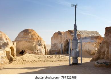 decoration building for star wars movie in desert in Tunisia