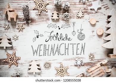 Decoration, Calligraphy Froehliche Weihnachten Means Merry Christmas