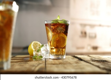 decoration of cold drinks in two glasses