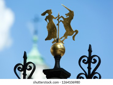 The decoration details in Warsaw historic New Town Market Square (Poland).
