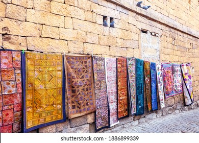Decoration of Fabric handmade shop hang on the wall for sale at Jaisalmer Fort, Rajasthan India.