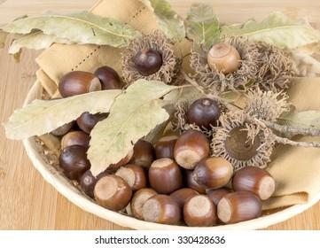 decoration of fall acorns