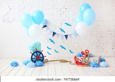 decoration for first birthday smash the cake in a marine style