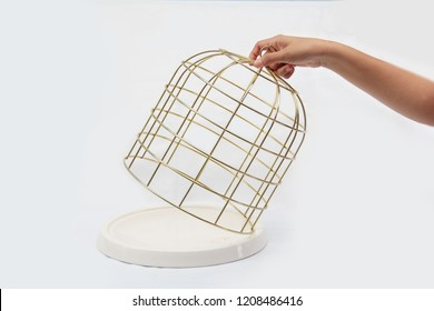 Decoration gold or bird cage open by hand