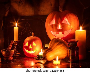 Decoration of Halloween pumpkin lantern.
