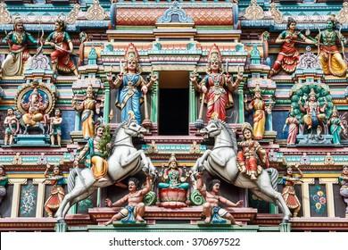 Decoration of Hindu temple in Kuala Lumpur, Malaysia