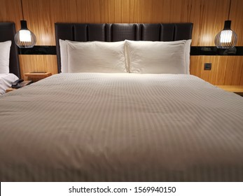 decoration of hotel room with comfortable king size bed