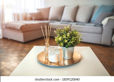 Decoration, hygge and aromatherapy concept - Aroma reed diffuser, burning candle, branches of green plant and perfume on table at home. Scent sticks aromatic in jar on table - Shutterstock ID 1839120040