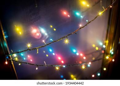 decoration lights bokeh,Christmas lights, Colorful light bulbs, serial lights