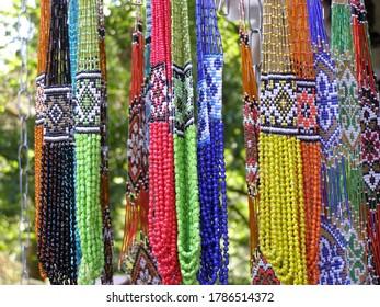 Decoration, necklace from beads of Western Ukraine. Ethnic