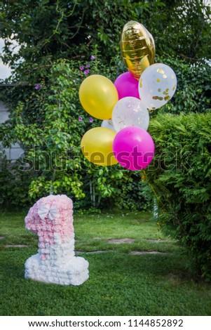 Decoration One Year Birthday Balloons Anniversary Stock Photo Edit