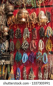 Decoration ornaments and souvenir in a shop in the streets of Kathmandu