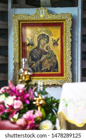The decoration of Our lady of perpetual help icon on Immaculate heart of Mary feast day church on 12 August 2019 at Samutprakarn, Thailand