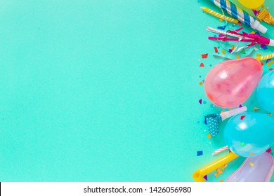 Decoration party. Balloons and different party decorations with free copy space top view
