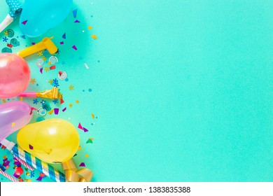 Decoration party. Balloons and various party decorations with copy space top view