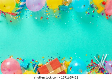 Decoration party. Frame of balloons and various party decorations top view