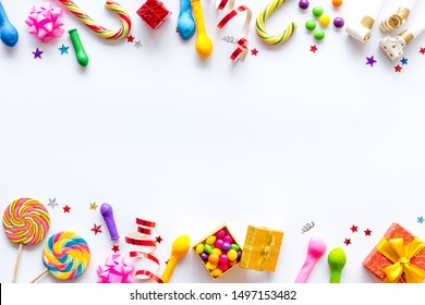 Decoration for party frame on white background top view copyspace