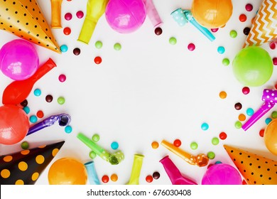 Decoration for the party on wooden white background/ Top view/ Birthday party background