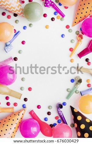 Decoration Party On Wooden White Background Stock Photo Edit Now