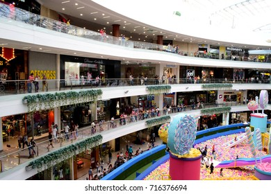 Decoration and people in Mall, Santa fe, Medellin, Colombia Sep 2017