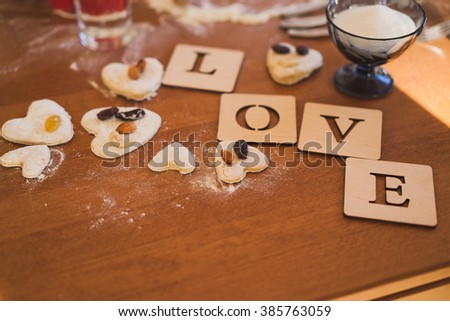 Decoration Plates Letters Spelling Love Heartshaped Stock