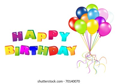 Decoration Ready For Birthday With Balloons, Isolated On White Background