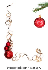 Decoration and red Christmas balls with space for your text