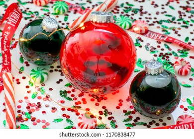 Green ball candy images stock photos vectors shutterstock decoration with red fluid filled christmas ornament ball and two green filled ornament balls surrounded by solutioingenieria Choice Image