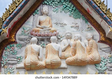 decoration sandstone buddha in the thai temple , five first monk