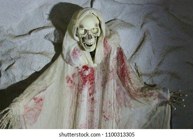 A decoration of a skull in a sheet