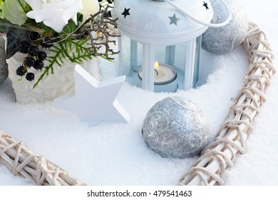 Decoration in snowy garden