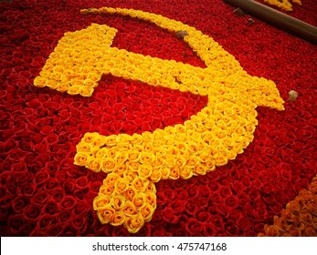 Decoration symbol of Communist Party on a street in Hanoi, Vietnam