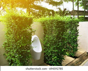 decoration of Toilet bowl for men at Public toilet In the gas station.